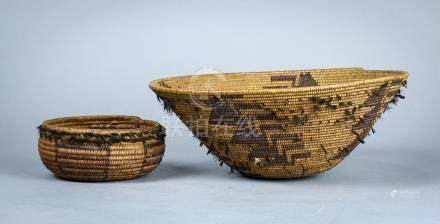 "(lot of 2) Northern California coiled baskets, possibly Maidu each with feather remnants, 4""h x 9."