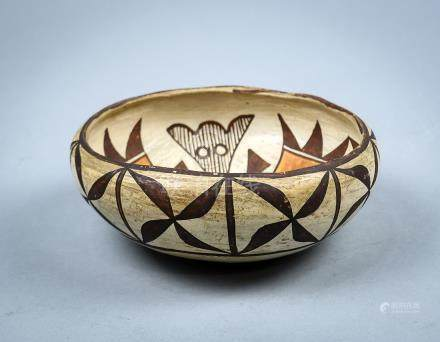 "Acoma pottery bowl, early 20th century, having polychrome geometric designs, 2.5""h x 6.5""dia."