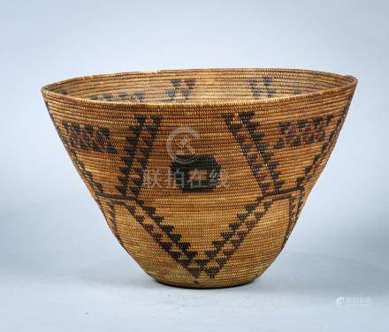 Central California Yokuts coiled polychrome basketry bowl, early 20th Century, having a tapered form