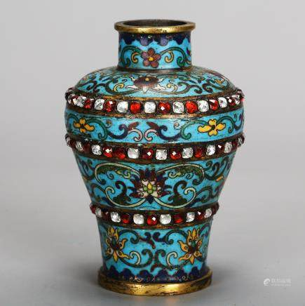 CHINESE CLOISONNE VASE WITH INLAID