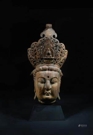 CHINESE WOOD CARVED HEAD OF GUANYIN