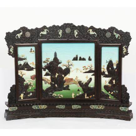 CHINESE HARDWOOD TABLE SCREEN WITH INLAID