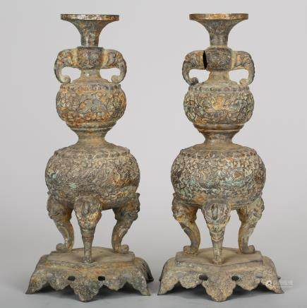 CHINESE SILVER CENSERS, PAIR
