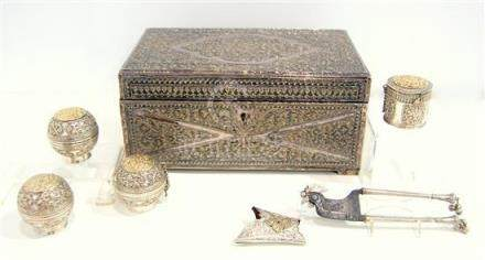 A Silver Betel Nut Box, Large & Impressive with Engraving, C