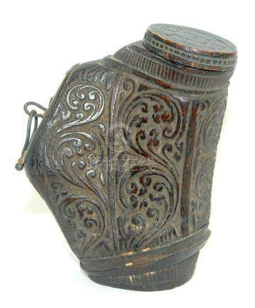 A Finely Carved Horn Lime Container, for Betel Nut, with Ori