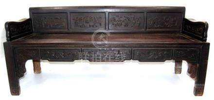 A Fine Chinese Zitan Luohan Bed, Supported on Square Corner