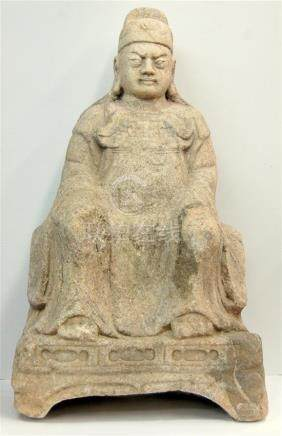 A Rare Life-size Granite Sculpture of Guandi, Seated Leaning