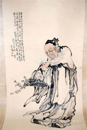 A Long Hanging Scroll, Ink & Colour on Paper, after Huang Sh