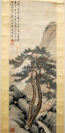 A Chinese Hanging Scroll, Ink & Colour on Paper, Bearing Sig