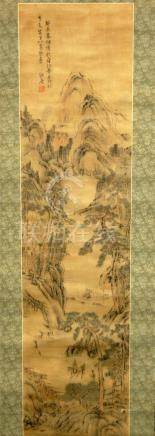 A Chinese Hanging Scroll, Ink & Colour on Silk, a Traditiona