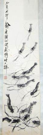 A Chinese Ink & Colour on Paper, Shrimp, Bearing Signature,