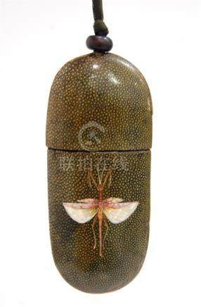 A Chinese Shark Skin, Shagreen Glasses Case, Painted with a