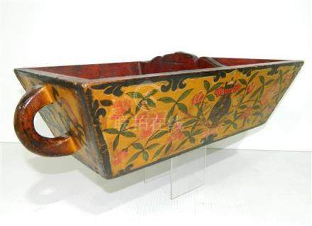 A Tibetan Carved & Painted Wedding Tray, with a Loop Handle