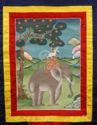 A Bhutan Thangka, Four Harmonious Animals, a Buddhist Folk T