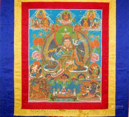 A Thangka of Zhabdrung Ngagwang Namgyal, he is Surrounded by