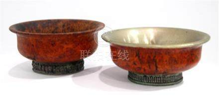 Two Tibetan Yak Butter Tea Bowls, Silver & Burr Wood, mid 20