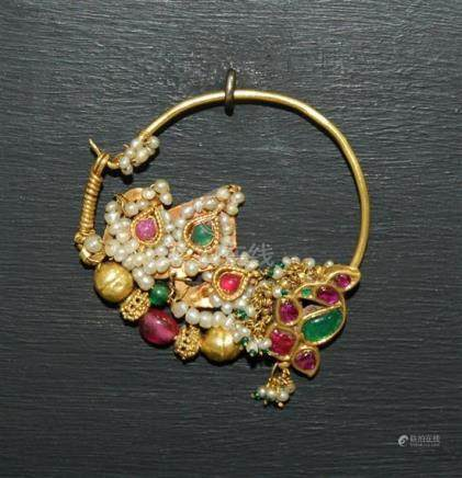A 24ct Gold Nose Ring, with Rubies, Seed Pearls, Chrysoberyl