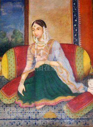 A Portrait of a Young Courtesan, Gouache on Canvas, Elaborat