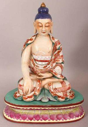 CHINESE ENAMEL DECORATED PORCELAIN FIGURE OF BUDDHA