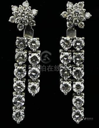 EXTRAORDINARY 5CT DIAMOND & 14KT W GOLD EARRINGS