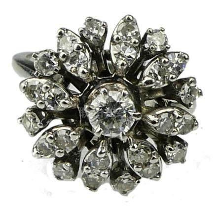 25 DIAMOND &14KT WHITE GOLD LADIES VINTAGE RING