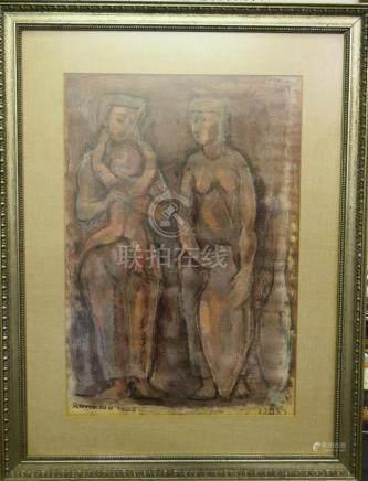 EMANUEL GLICENSTEIN (USA/ITALY 1897-1984) OIL/INK