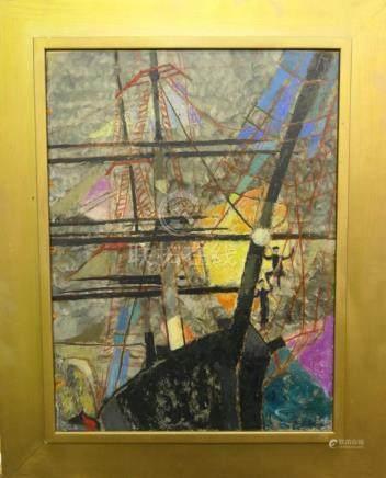 LEDA GURR (USA 1897-1992) SHIP OIL ON MASONITE