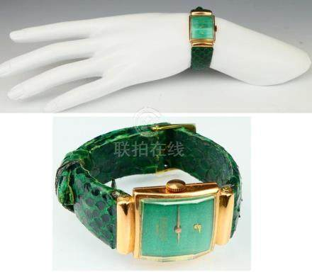 VINTAGE LONGINES 18KT Y.G WATCH RARE GREEN FACE