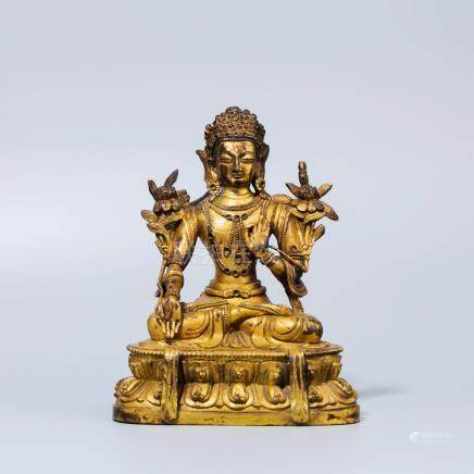 A Chinese Gold Gilt Bronze Buddha