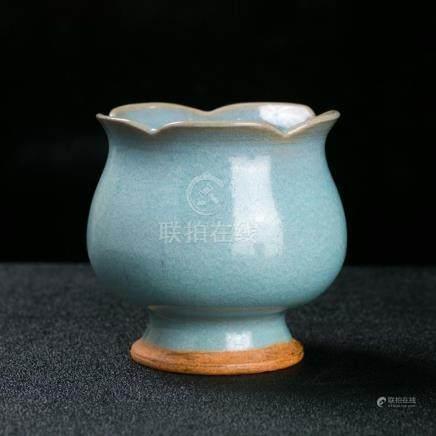 Chinese Dynasty Jun Kiln Porcelain glaze zun cup jar pot bot
