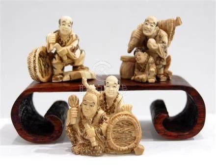 Three Carved Ivory Netsuke, a Fisherman, a Basket Maker & a