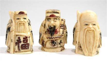 Three Walrus Ivory Tusk Carving of Fu, Lu & Shou, Robes Pick