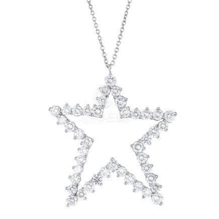 蒂芙尼 鑽石 星形 鉑金項鍊