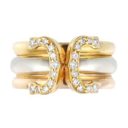 卡地亞 C DE CARTIER 鑽石 黃金 & 白金戒指