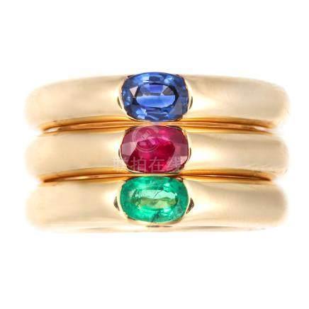 卡地亞 紅寶石 藍寶石 祖母綠 黃金戒指