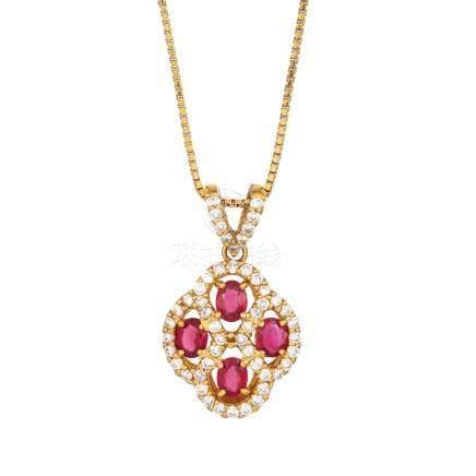 紅寶石 鑽石 黃金項鍊