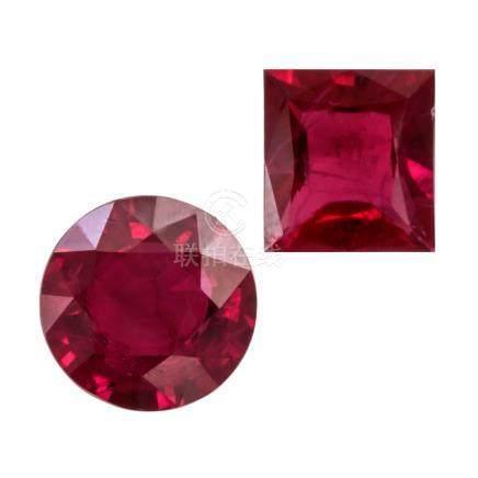 1.049 ct & 1.395 ct 紅寶石裸石 2件組合