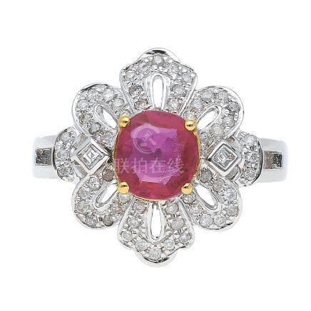 0.91 ct 紅寶石 鑽石 14K 白金戒指