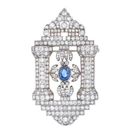 藍寶石 鑽石 鉑金 & 黃金胸針