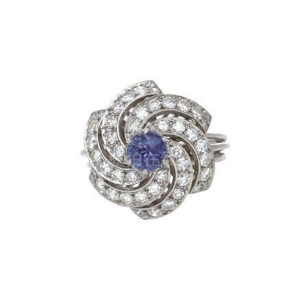 藍寶石 鑽石 白金戒指