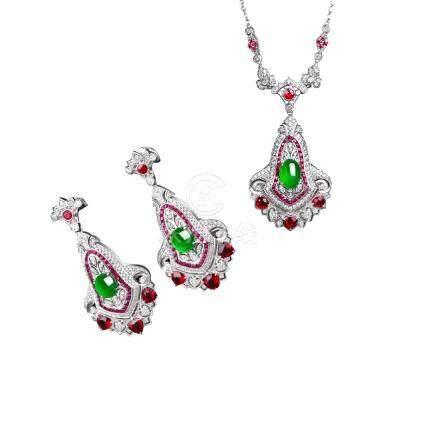 翡翠 紅寶石 鑽石 白金耳釘 & 項鍊 2件組合