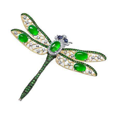 翡翠 鑽石 蜻蜓型 白金胸針