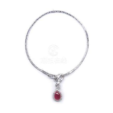30.00 ct 緬甸產 紅寶石 鑽石 白金項鍊 (非加熱)