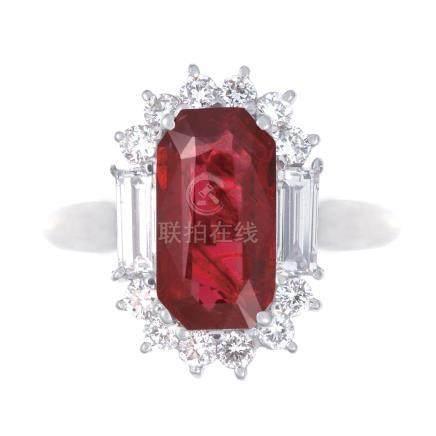 3.02 ct 緬甸產 鴿血紅紅寶石 鑽石 鉑金戒指