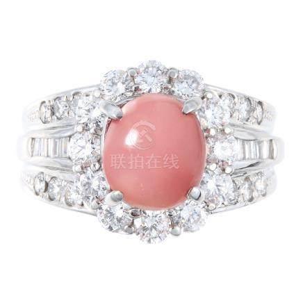 海螺珍珠 鑽石 鉑金戒指