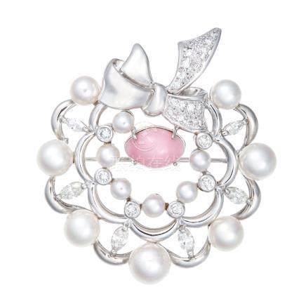 海螺珍珠 珍珠 鑽石 鉑金胸針 (吊墜兼用)