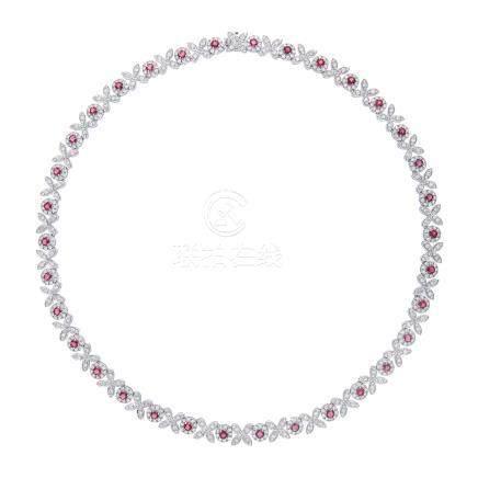 紅寶石 鑽石 白金項鍊