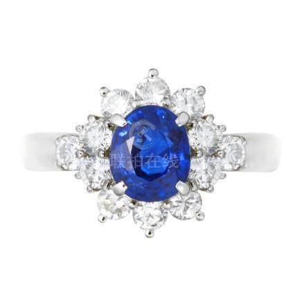 1.43 ct 緬甸產 皇家藍藍寶石 鑽石 鉑金戒指 (非加熱)