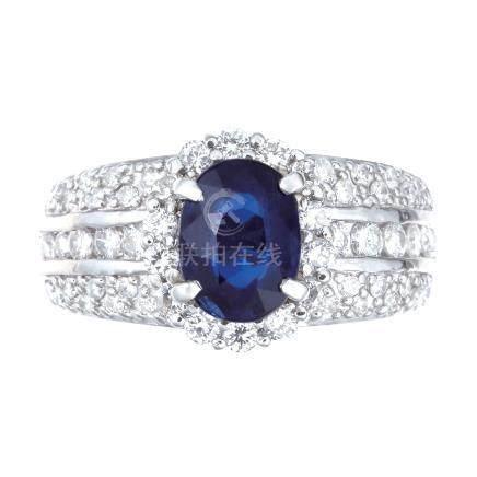 1.78 ct 緬甸產 藍寶石 鑽石 鉑金戒指 (非加熱)