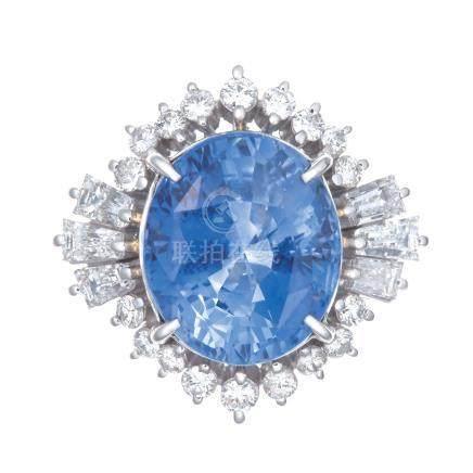 9.04 ct 斯里蘭卡產 藍寶石 鑽石 鉑金戒指 (非加熱)